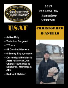 Meet 2017 Weekend to Remember Warrior Christopher D'Angelo #USAF #TSgt #LeaveNoVeteranBehind 25 D 9 H 51 M to liftoff! March 22-26, 2017 www.haloforfreedom.org