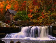 Glade creek gristmill in Babcock state park in West Virginia. ::: West Virginia baby I don't care Beautiful Scenery Wallpaper, Beautiful Landscapes, Fall Photos, Nature Photos, Nature Hd, Autumn Pictures, State Parks, Fuerza Natural, Waterfall Wallpaper