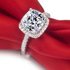 3.3ct Princess CZ Engagement Wedding Ring 925 Sterling Silver Sz. 5 6 7 8 9 10