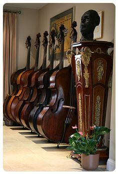 Double Basses all in a row within the Contrabss Shoppe