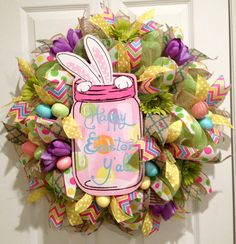 Easter Lime Green Deco Mesh Wreath - Happy Easter Ya'll by DeVineCreationsbyMel on Etsy