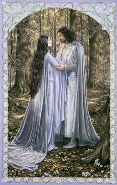 Arwen and Aragorn; art by by Matthew Stewart 'Lady Undómiel,' said Aragorn, 'the hour is indeed hard, yet it was made even in that day when. Legolas, Aragorn E Arwen, Gandalf, Jrr Tolkien, Fantasy World, Fantasy Art, Le Couple Parfait, Earth Design, Beltane