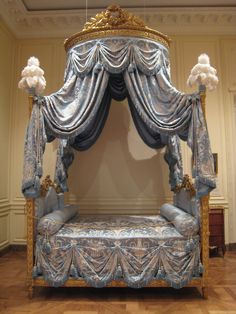 Bed French (Paris), about 1775–80 A grand bed such as this was meant to stand in a deep niche in the most important bedroom of a private residence, where visitors were frequently received.