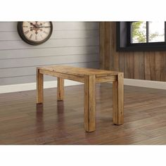 Dining Room Bench Seating for 2 Solid Rustic Brown Wood Natural Finish Decor New #BHG #Contemporary