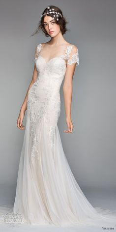 willow by watters spring 2018 short sleeves sheer bateau sweetheart neckline heavily embellished bodice romantic elegant fit and flare wedding dress sheer button back chapel train (10) mv -- Willowby by Watters Spring 2018 Wedding Dresses #wedding #bridal #weddings #shortweddingdresses