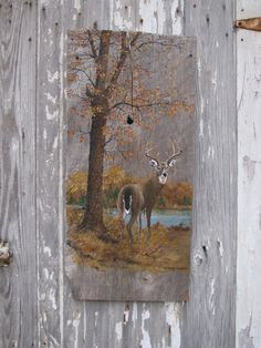 free images of frogs to make from wood | Vintage Painted Barn Wood Buck Deer in Woodland Scene Wall Hanging ...