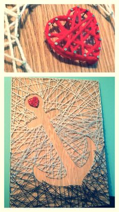 I got the idea for this from another pin of anchor string art. I figured out how to do it myself. It's pretty simple. I stained and sanded the wood so it looked a little worn. I found it really helpful to trace the image on a piece of paper, cut it out, and then use that as a guide to place the nails. I also secured the ends of the yarn with a few overhand knots and some dabs of hot glue.