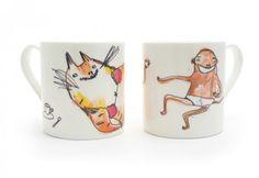 tiger and chimp mugs