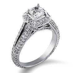 The Jewlery Exchange...Certified Light 2 Carat Diamond Halo Ring in 14k Gold...$4,949.00