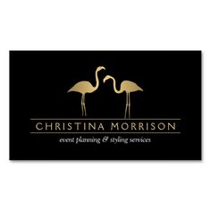 Two elegant, faux matte gold flamingos create an eye-catching design on the front of this classic business card template. Your name or business name is bordered by two thin lines to ground the text styling. Flamingos are very social animals which symbolize vibrance and balance (as they often stand on one foot). They create the perfect mascots for event planners, event coordinators, or those looking to add the graceful image of the flamingo into their business branding.