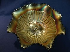 "Vintage Northwood Stippled Rays Carnival Glass 8.5"" Ruffle Bowl Marked"