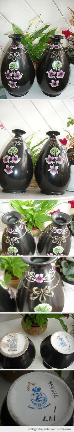 PAIR ANTIQUE PORCELAIN SHELLEY VIOLETTE BLACK GROUND LARGE BULBOUS FLOWER VASES - Found on Lookza.com