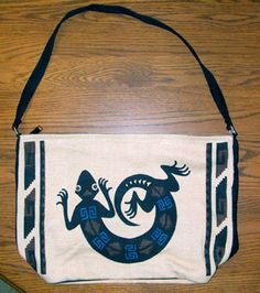 "What fun! A large 13x19"" flat bottom canvas purse with a southwest lizard or Gecko design printed on both sides.. Zips close.  Up for auction starting bid is $19.95  Free shipping! #purse #handbag #southwestern #gecko #lizard"