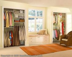 his and her closets with window seat