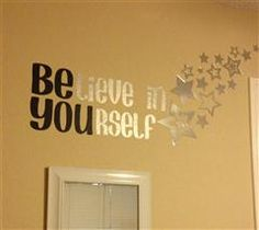 Found in the project files and decided it was perfect for my pre-teen& room. I used adhesive mirror stars instead of butterfies. CCR file is linked below--couldn& have been easier! My New Room, My Room, Girl Room, Vinyl Crafts, Vinyl Projects, Cricut Vinyl, Cricut Craft, Cricut Ideas, Vinyl Wall Art