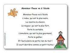 Comptine Monsieur Pouce va à l'école Petite Section, Music Ed, Learn French, Story Time, Compassion, Montessori, Poems, Classroom, Author