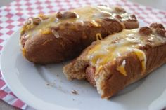Baked chili cheese dogs!