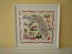 Framed map handkerchief. Frame about 18.5 inches square.