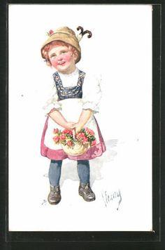 Vieux-artistes-AK-Karl-jour-ferie-filles-en-costume-traditionnel-avec-des-fleurs-1914