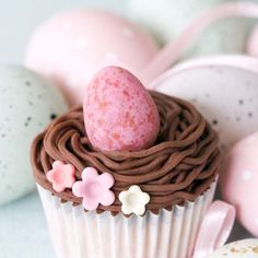 Colorful Pink Speckled Easter Egg Cupcake
