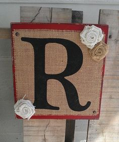 Burlap Initial sign with burlap flowers by SignsbyAshley on Etsy, $15.00