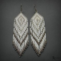 White and Silver Dangle Earrings, Beaded Earrings, Beadwork Jewelry