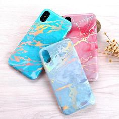 AXBETY Bling Shine Laser Golden Pink Marble-TPU-AXBETY-A1-For iphone X-TouchyStyle