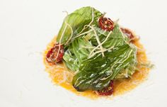 Buttered basil linguine with tomato and chilli sauce and cheddar sauce by Galton Blackiston