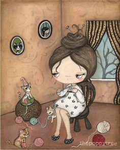Kitten Print Knitting Girl Yarn Cat Kittens Wall Art---Knitting For Kittens.  I love this painting.
