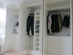 Love how these look like old fashioned paneled walls --- Fitted wardrobes Kingston Alcove Wardrobe, Bedroom Built In Wardrobe, Painted Wardrobe, Master Bedroom Closet, Wardrobe Storage, Wardrobe Doors, Alcove Cabinets, Bedroom Cupboards, Box Bedroom