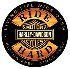 "Harley-Davidson Tin Sign Collection ""Ride Hard"" 14"" Round. 2010671"