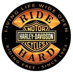 "Harley-Davidson Tin Sign Collection ""Ride Hard"" 14"" Round. 2010671"