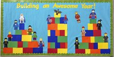 This lego-themed bulletin board is great for the beginning of the school year. It would be fun for students to build their own lego people that represented themselves as a craft for the first day of school.