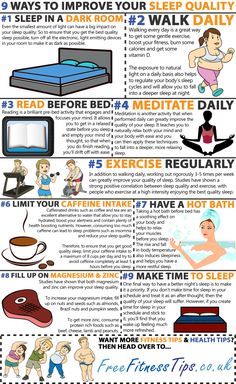Improve the quality of the sleep you get each night with these nine top tips... | See more about sleep.