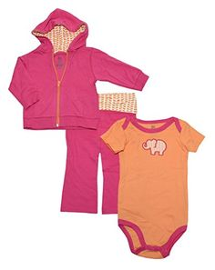 Yoga Sprout Baby Girls Bodysuit Pant and Hoodie Set 69 Months Pink Elephant >>> To view further for this item, visit the image link.