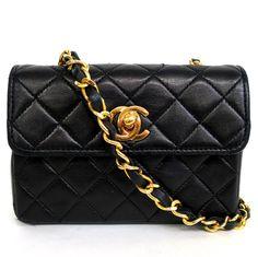 【中古】シャネル(CHANEL) ミニ マトラッセ 斜め掛け チェーン ショルダーバッグ ココマーク カーフ レザー ブラック ゴールド金具/マトラッセステッチやココマークの金具がポイントの女性の憧れを象徴したバッグです。/新品同様・極美品・美品の中古ブランド時計を格安で提供いたします。