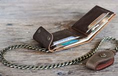 Leather Bifold Wallet with Chain