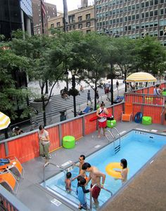 This was right outside my office in Manhattan!! Shipping Container Public Pools.