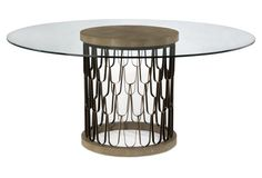 Paolo Shagreen Dining Table, Black/Gold
