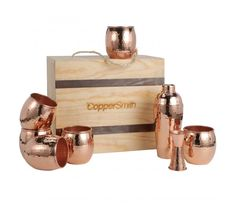 A premium gift package for the home entertainer, this box features 6 mule cups, a bar shaker, and a double jigger. When you give this gift, tell them they will need to invite you to the party :) Copper Pots, Copper Kitchen, Copper Decor, Candle Making Supplies, Condo Design, House Design, Late Nights, Gift Packaging, Packaging