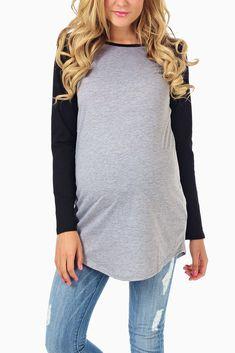 Grey-Black-Baseball-Maternity-Top #pinkblush #cutematernityclothes #onlinematernityclothes