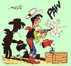 Lucky Luke tire (toujours) plus vite que son ombre Lucky Luke, Bd Comics, Funny Comics, U2 Poster, Comic Book Characters, Comic Books, Serpieri, Cartoon Crazy, Looney Tunes Cartoons