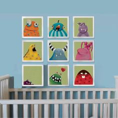 9 lovely monsters, Nursery art print, Baby nursery decor, Etsy kids,Kids art, Childrens room decor, Those beautiful art works are a great decor idea for