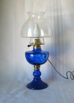 Cobalt Hurricane Lamp.