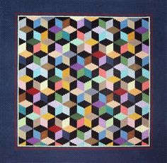Needlepoint  Susan Roberts Geometric Cube Quilt, stitching this in more authentically Amish colors