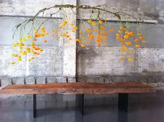 Maybe instead of fresh flowers, I could crochet flowers and hang from a branch, like this? Wedding Ideas: fleur-friday-orange-leaves (once-wed)