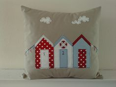 New beach hut applique cushion | Flickr - Photo Sharing!