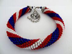 Patriotic Bracelet  Red white Blue Beaded by lesperlesdeDiamanda