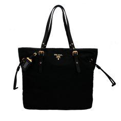 Prada BR4997 Nero Tessuto Suffian Black Nylon and Leather Shopping Tote Bag