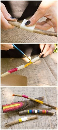 DIY Painted Sticks/Moonfrye/ Nature Crafts/ Crafty/ Kids Art Projects